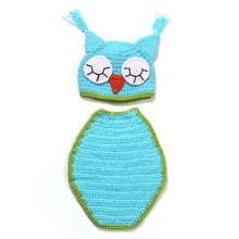 Cute Baby Knitted Owl Beanie Hat+Cloak Clothing Set Newborn Baby Girl Crochet Photography Props Hand Baby Clothes M09
