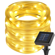 7M 50leds Solar Powered Rope Tube Led String Light Waterproof Outdoor Christmas Garden Yard Path Fence Tree Backyard Lights(China)