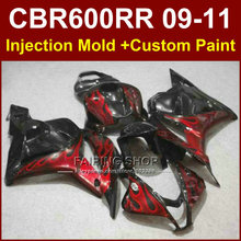 Red flame customize fairing set for HONDA CBR600RR fairing kit 2009 2010 2011 cbr600 rr ABS bodykits CBR 600 RR 09 10 11+7Gifts