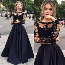 Long Sleeves Prom Dresses Black Two Pieces Lace Top And Satin Sheer Crew Neck Special Occasion Gowns Victorian Style Party Dress