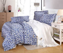 satin silk bedding sets comforters duvet covers bedspreads twin full queen king size bedroom decor Chinese porcelain blue white