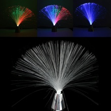 Nerw Arrival Flower LED Colour Changing Fibre Optic Fountain Night Light Lamp Relaxing Claming Decor Battery Power For Top Gift(China)