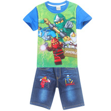 Buy Boys Clothing Set Summer Children Baby Cartoon Clothes Sets Kids Spiderman Short Sleeve Shirt Ninjago Jeans Child Sport Suits for $8.91 in AliExpress store