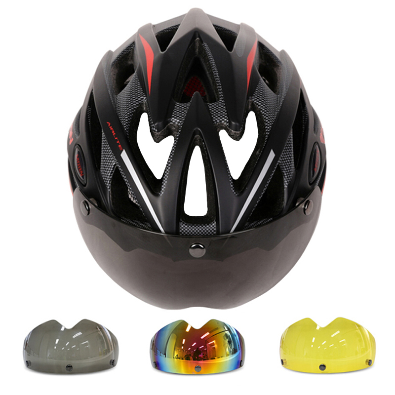 MOON Goggles Cycling Helmet In-mold Magnetic Goggles Bicycle Helmet With Lens Ultralight Casco Ciclismo Bike Helmet 55-61 CM<br><br>Aliexpress