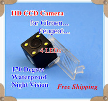 Factory selling, HD CCD with 4 LEDs Car Rear View Reverse back up Camera for Citroen C2 Elysee C5 CROSS DS3 DS5