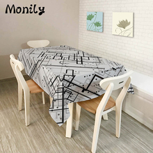 Monily Polyester Waterproof Rectangle Tablecloths Cool Orange Pattern Dinner Oilproof Table Cloth Home Banquet Table Covers(China)