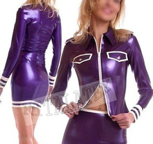 Buy New Arrival Purple Latex Lingerie Skirt Jacket Top Rubber Latex Stuffs Sexy Outfit Latex Girls Uniform Dress Suit