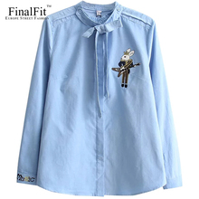 FinalFit Cordury Blouse Shirt Women, Rabbit Embroidery Female Casual Shirt Detachable Bowknot Collar
