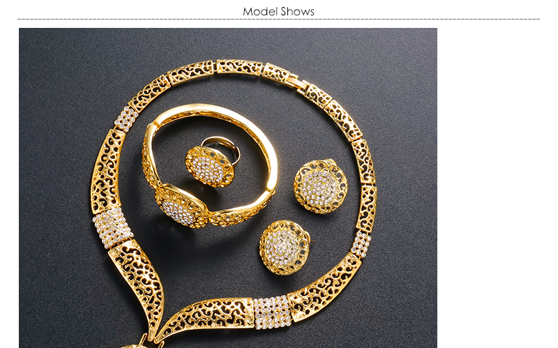AYAYOO Dubai Jewelry Sets For Women Fashion African Beads Jewelry Set Nigerian Wedding Gold Color Necklace Set Gift (1)