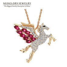 Neoglory Light Yellow Gold Color Animal Designer Long Necklaces for Girls Fashion Cute Rhinestone Jewellery 2017 New LN1 QC