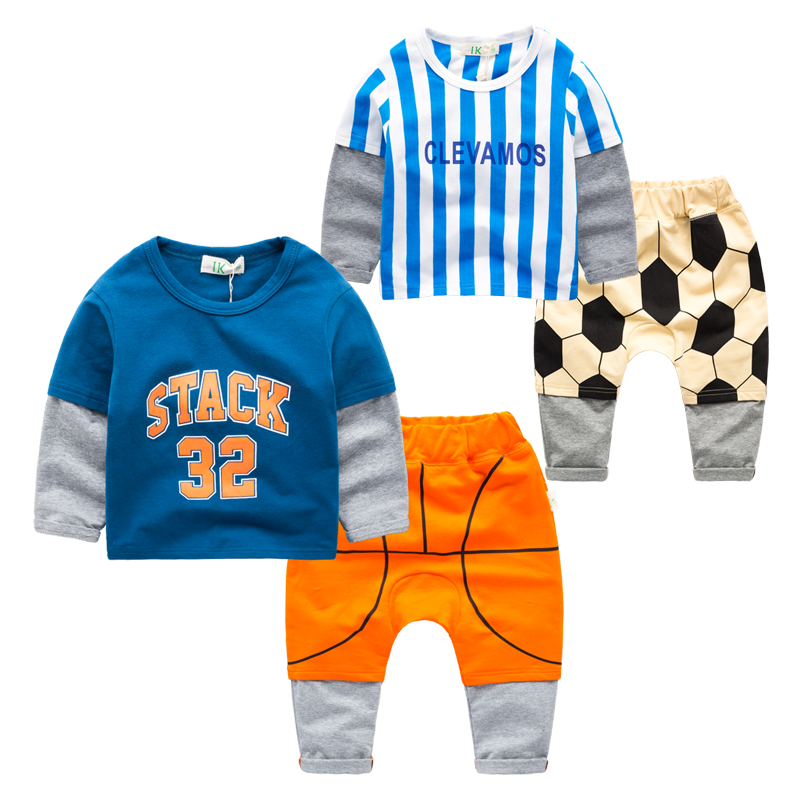 sports suit children cotton two sets of boys T-shirt trousers spring section cartoon childrens clothing new 2017<br><br>Aliexpress