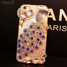 For iphone6 6plus 7 7plus Hot New Luxury 3D Peacock Bird bling Crystal Rhinestone diamond Mobile phone case hard skin back cover