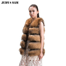Top Quality Natural Real Raccoon Fur Vest Women Fur Sleeveless Waistcoat Vintage Sleeveless Womens Clothing Brand New Fashion