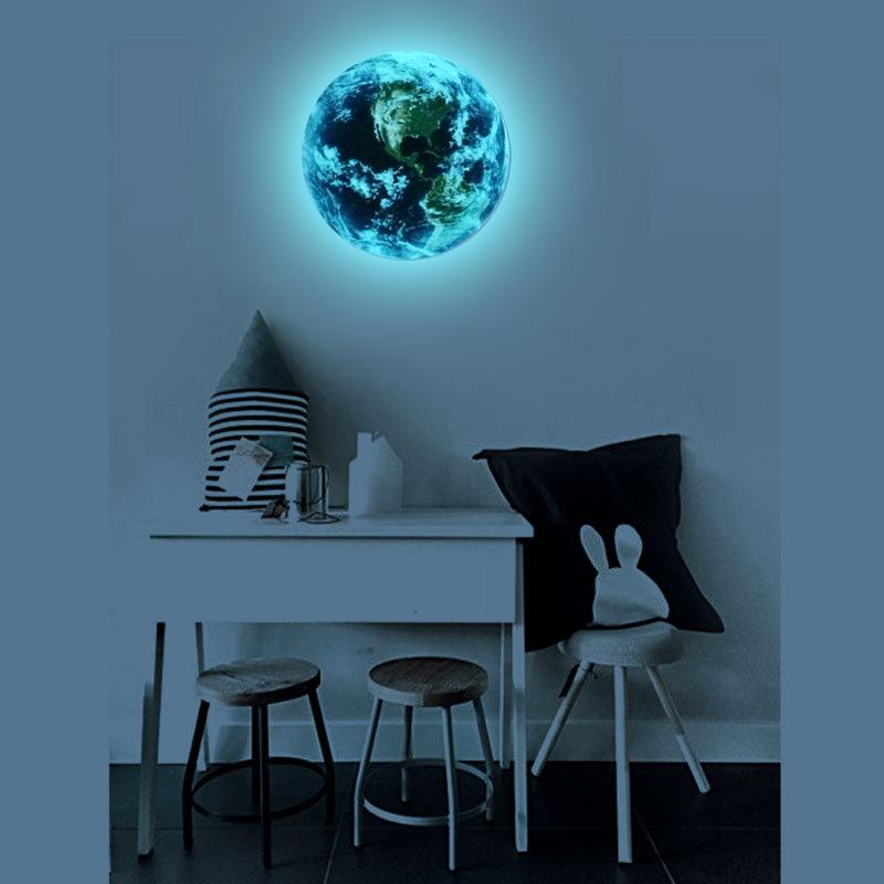 HTB1gOz7RVXXXXXqXXXXq6xXFXXXM - Hot sale 1PCS new Luminous blue earth Cartoon DIY 3d Wall Stickers for kids rooms bedroom wall sticker Home decor Living Room