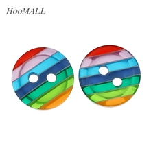 "Hoomall 100PCs Round Rainbow Resin Buttons 2 Holes Sewing Button 12mm( 4/8"") Dia.For Crafts And Scrapbooking"