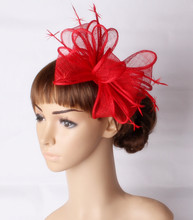 Free shipping 20color available red sinamay fascinator hats good bridal wedding hats gril cocktail hat Very nice black millinery