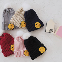 Children in autumn and winter hats exported to Korea embroidery embroidered smile rabbit hair ball baby warm cap