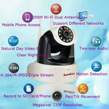 2-Antenna 300M AP P2P WiFi 720P Megapixel Wireless Pan Tilt IP Camera Home Baby Monitor Robot Nanny Camera Video Mobile Phone
