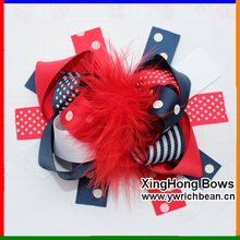 Girl's  Large Boutique In Red Navy White Hair Feather Bow Ribbon Sculpture Hair Clippie fashion hair accessory flowers