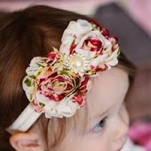 Newborn Satin Ribbon Flower Headbands Photography Props Kids Headband Hair Accessories H002
