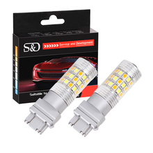S&D 2pcs 3157 Switchback Bulbs Turn Signal Light - 3056 3156 3057 LED Car bulbs - 42SMD Dual Color Amber / White(China)