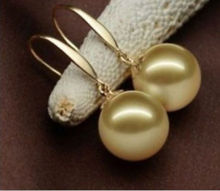 Hot sell Noble- hot sell new - shitou 00196 Huge AAA 14mm natural south sea golden shell pearl earrings(China)