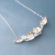 cherry blossom tree branches pendant women choker necklace in silver plated, medium(China)
