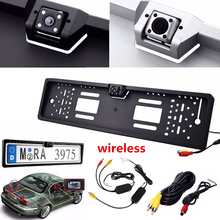 Night Vison LED Car Rear View Camera Parking Auto Reverse Rearview Backup Camera for EU Number Plate Frame+ Wireless Receiver