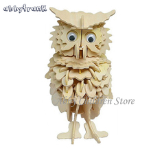 Abbyfrank Owl Model 3D Puzzles Wooden Puzzles DIY Toy Woodcraft Handmade Toy Learning Educationa Toys For Children Kids Adult(China)