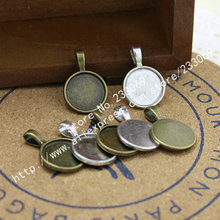 Wholesale 30pcs/lot two color Metal Round 20mm Cabochon Pendant Settings Jewelry Pendant Blanks Charms T0036(China)