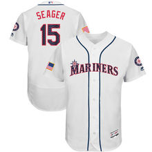MLB Men's Seattle Mariners Kyle Seager Baseball White 2017 Stars & Stripes Authentic Collection Flex Base Player Jersey(China)