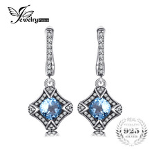 JewelryPalace Vintage 1.8 ct Genuine Sky Blue Topaz Clip Earrings 100% 925 Sterling Silver Woman Gift Fashion Charm Fine Jewelry(China)