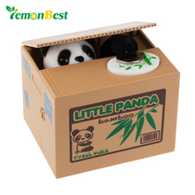 LemonBest Money Box for Children Cute Panda Coin Bank Cash Box Automatic Stole Piggy Bank Money Saving Safe Box for Kids Child(China)