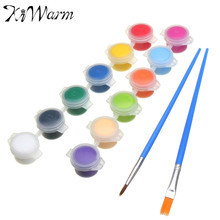 KiWarm One Set 12 Colors Acrylic Paints with 2 Brushs DIY Graffiti Pigment Set For Oil Painting Wall Painting Art Supplies Gifts
