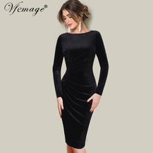 Vfemage Women Autumn Winter Elegant Velvet Long Sleeve Ruched Drape Vintage Work Business Office Party Bodycon Sheath Dress 8436(China)