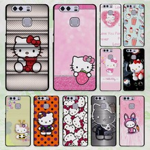 cute Hello kitty design hard black Case Cover for Huawei P8 P9 lite P9 Plus p10 P10 Plus P7 Mate9 Mate8 Mate s