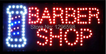 2017 hot sale custom 10x19 Inch Semi-outdoor Ultra Bright flashing barber shop sign of led(China)