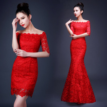 Long Cheongsam Chinese Traditional Dress Women Modern Qipao Lace Robe Orientale Evening Wedding Gown Qi Pao(China)