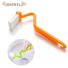DINIWELL Family Sanitary S-type Toilet Cleaning Brush Curved Bent Handle Brush Scrubber Home Bath CleanerTools
