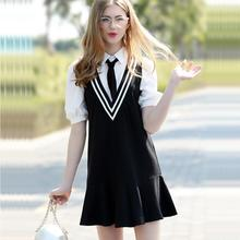New High School Student JK Uniform Korean Preppy Style Sailor Women Girls summer dress Student Uniforms British Style Costume(China)