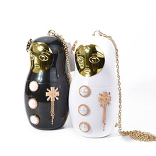 Wholesale 2017 Europe Russian dolls evening bag acrylic ladies satchel party bag hand bag shoulder women messenger bag