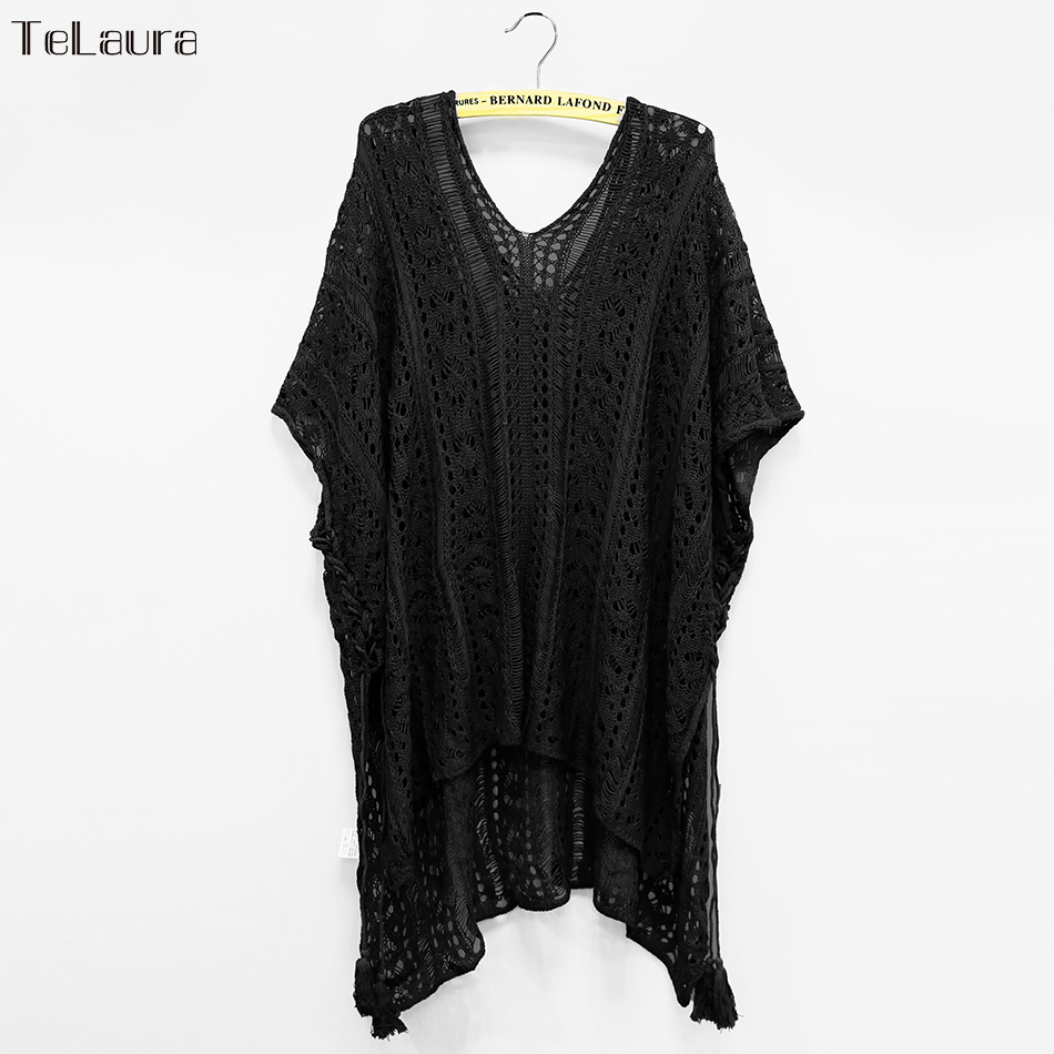 2018 New Beach Cover Up Bikini Crochet Knitted Tassel Tie Beachwear Summer Swimsuit Cover Up Sexy See-through Beach Dress 19