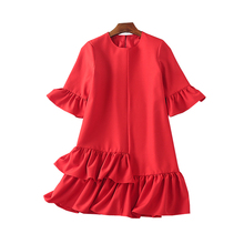 New 2018 Spring Star show fashion women's dress makings big code loose red dress(China)
