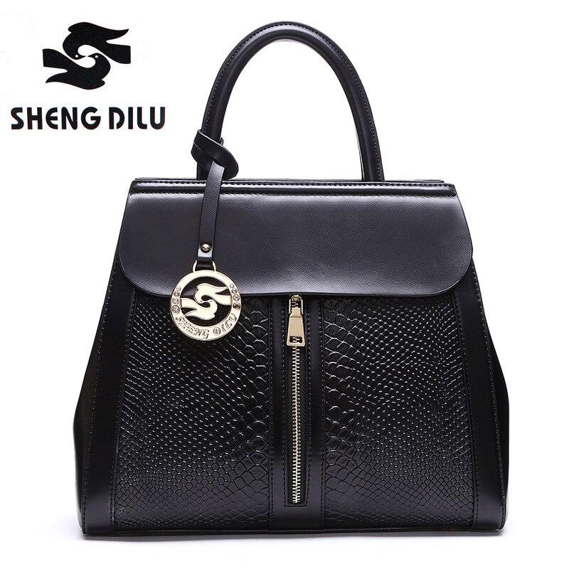 genuine leather handbag 2018 new shengdilu brand women tote cow leather shoulder Messenger bag bolsa feminina free Shipping<br>