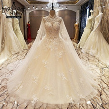 Hot Sale White Sexy High Collar Wedding Dress Sleeveless Pearls Sequined Wedding Gowns Vestido De Noiva 2017 shx001