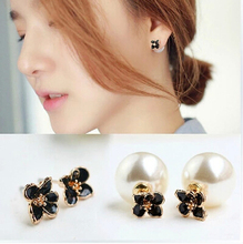 ED 032 2016 Korean version of the double-sided wear temperament small Zou daisy flower pearl earrings sided(China)
