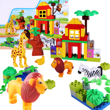 Kid's Home Animal Toys Large Particles Happy Farm Animals Paradise Model Building Blocks Large Size DIY Brick Toy For Girls Boys