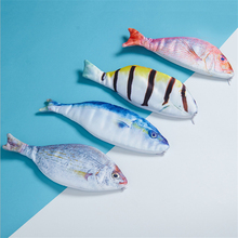 Creative Fish Shape Pencil Case Kawaii Korea Style Canvas Pencils Bag School Supplies Stationery Hot Pen Storage Box