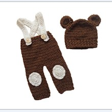 Baby clothing handmade yarn baby cap cute hat baby hat Photography Prop Baby Brown Bear Crochet Knitted Costume Cap Pants(China)