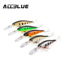 ALLBLUE Suspend Fishing Lures 90mm 7g 2.5M Dive Artificial Bait Plastic Shad Minnow 3D Eyes Wobbler Bass Lure Fishing Tackle